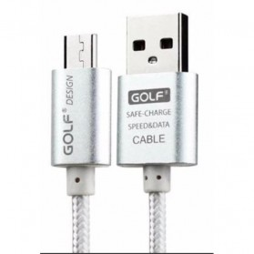 Golf Double Braided Micro USB Cable - White