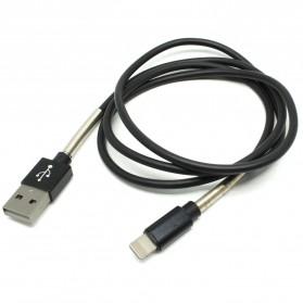 TPE Spring Kabel Charger Lightning 1 Meter - Black