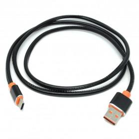 Kabel Charger USB Type C Leather 1 Meter - Black