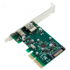 Kartu PCI-E 4x ke USB 3.0 & USB Type C dengan 15 Pin SATA Power - 2