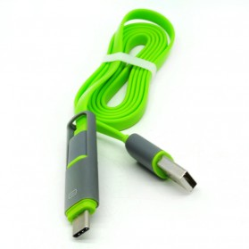 Kabel USB Duo 2 in 1 Type C & Micro USB - Split Back Model - Green