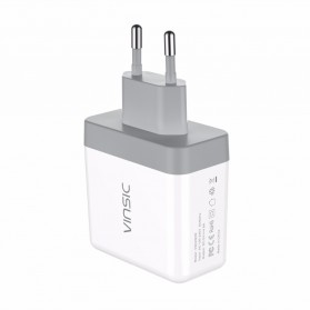 Vinsic USB Travel Charger 2 Port 5V/4.8A EU Plug - White - 3