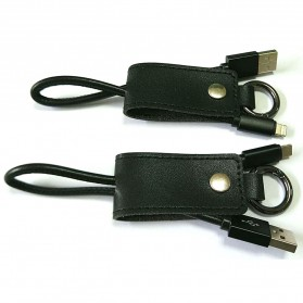 Kabel Charger Keychain Lightning & Micro USB - Black - 1