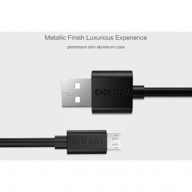 CHOETECH Kabel Charger Micro USB Fast Charging 2.4A - 1m - Black - 4