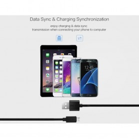 CHOETECH Kabel Charger Micro USB Fast Charging 2.4A - 1m - Black - 8
