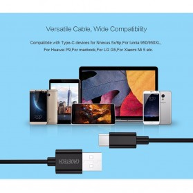 CHOETECH Kabel Charger USB Type C Hi Speed 2.4A 1m - E-5-12 - Black - 8