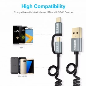 CHOETECH Kabel Charger 2 in 1 USB Type C dan Micro USB - 1.2m - Black/Gray - 4