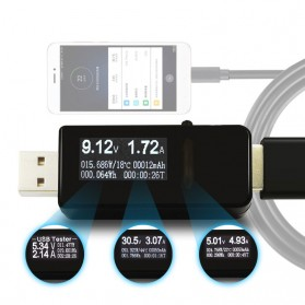 Digital USB Tester Voltase & Ampere - VA007 - Black