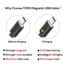 TOPK Kabel Charger Magnetic Micro USB Braided - Black - 7