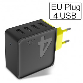Rock Fast Charger USB EU Plug 4 Port 4A - Black