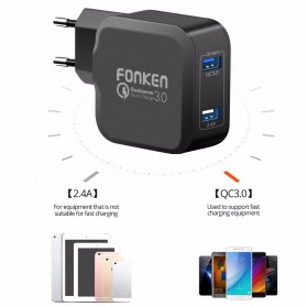 FONKEN Charger USB EU Plug 2 Port Quick Charge 3.0 27W - Black - 3