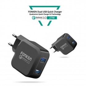 FONKEN Charger USB EU Plug 2 Port Quick Charge 3.0 27W - Black - 4