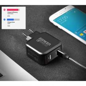 FONKEN Charger USB EU Plug 2 Port Quick Charge 3.0 27W - Black - 5