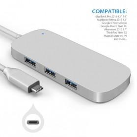 EKSA USB Hub 3 Port USB Type C with Card Reader Model Oval - R012 - Silver - 3