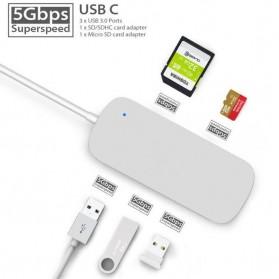 EKSA USB Hub 3 Port USB Type C with Card Reader Model Oval - R012 - Silver - 4