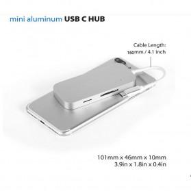 EKSA USB Hub 3 Port USB Type C with Card Reader Model Oval - R012 - Silver - 6