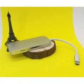 EKSA USB Hub 3 Port USB Type C with Card Reader Model Oval - R012 - Silver - 8