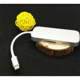 EKSA USB Hub 3 Port USB Type C with Card Reader Model Oval - R012 - Silver - 10