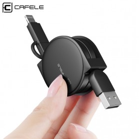 CAFELE 2in1 Kabel Charger Lightning & Micro USB Retractable 1 Meter - 2226 - Black