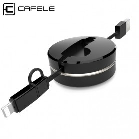 CAFELE 2in1 Kabel Charger Micro USB & Lightning Retractable 1 Meter - Black