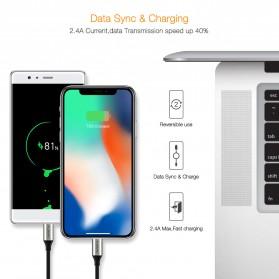 FLOVEME L Shape 2 in 1 Kabel Charger Lightning + Micro USB 2.4A 1 Meter - Black - 3