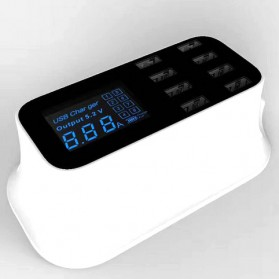 Smart Wall Charger 8 USB Port with LED Display - YC-CDA19 - White