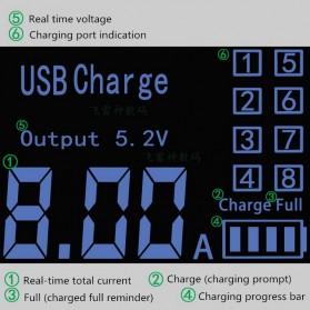 Smart Wall Charger 8 USB Port with LED Display - YC-CDA19 - White - 7