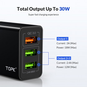 TOPK Charger USB 3 Port 3.0A Fast Charging QC3 EU Plug - A3301 - White - 3