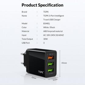 TOPK Charger USB 3 Port 3.0A Fast Charging QC3 EU Plug - A3301 - White - 5