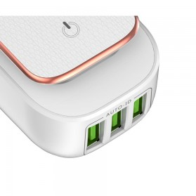 TOPK Charger USB 3 Port 3.4A dengan Lampu LED - White - 3