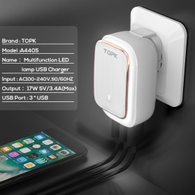 TOPK Charger USB 3 Port 3.4A dengan Lampu LED - White - 7