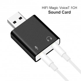 Sound Card External - External USB Sound Card 3D Audio 7.1 - Black