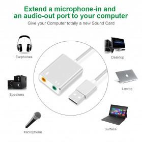 External USB Sound Card 3.5mm AUX & Microphone - Silver - 2