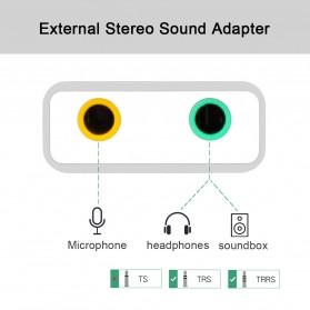 External USB Sound Card 3.5mm AUX & Microphone - Silver - 3