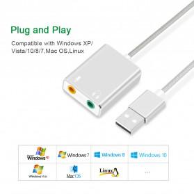 External USB Sound Card 3.5mm AUX & Microphone - Silver - 4
