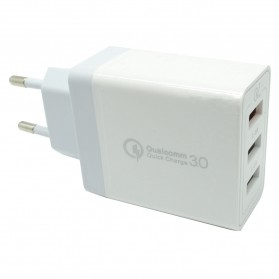 USB Travel Charger 3 Port 2.4A  QC3.0 - White