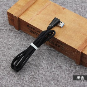 Kabel Charger Micro USB L Shape 2.1A 1 Meter - Black - 3