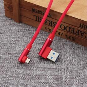Kabel Charger Micro USB L Shape 2.1A 1 Meter - Black - 4