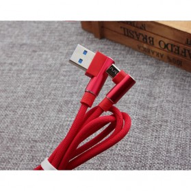 Kabel Charger Micro USB L Shape 2.1A 1 Meter - Black - 5