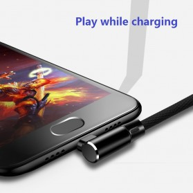 OLAF Kabel Charger USB Type C Braided L Shape 1 Meter - L88 - Black - 2