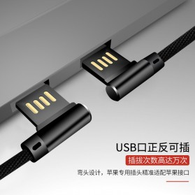 OLAF Kabel Charger USB Type C Braided L Shape 1 Meter - L88 - Black - 5