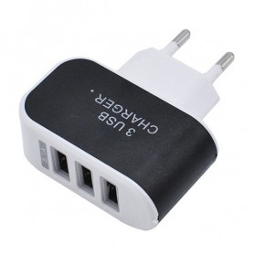 Adapter Travel Charger USB 3 Port 5V 3.1A EU Plug LED - EKA - Black