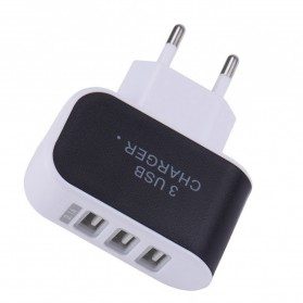 Adapter Travel Charger USB 3 Port 5V 3.1A EU Plug LED - EKA - Black - 2