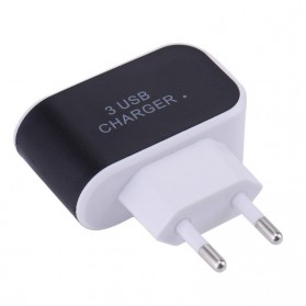Adapter Travel Charger USB 3 Port 5V 3.1A EU Plug LED - EKA - Black - 3