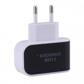 Adapter Travel Charger USB 3 Port 5V 3.1A EU Plug LED - EKA - Black - 4