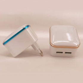 Charger USB 2 Port 3.1A dengan Lampu LED - White - 2