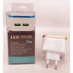 Charger USB 2 Port 3.1A dengan Lampu LED - White - 5