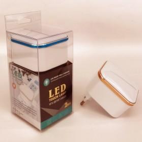 Charger USB 2 Port 3.1A dengan Lampu LED - White - 6