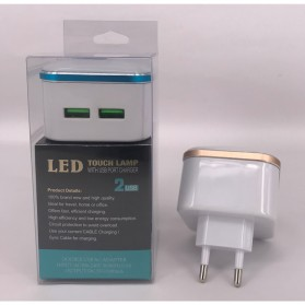 Charger USB 2 Port 3.1A dengan Lampu LED - White - 7