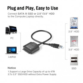 E-yield Kabel Adapter USB 3.0 to SATA for 3.5 / 2.5 Inch HDD SSD - ZD0004 - Black - 3